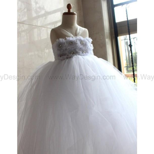 dress white dress white flower girl dress flower girl dress