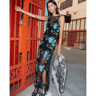 dress nastygal sheer crewneck floral embroidered maxi slit romantic sexy fashion style trendy floral maxi dress