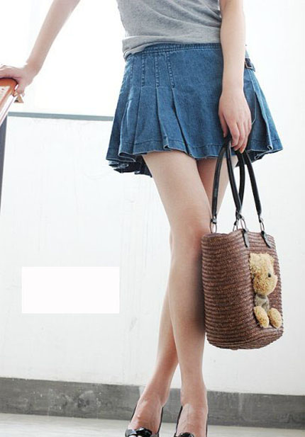 Women's Cotton Blend Ruffled Pleated Denim Short Skirt 1314 - WearingSales.com