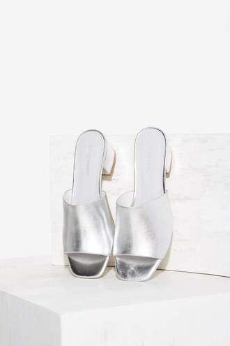 shoes metallic mules metallic shoes mid heel sandals