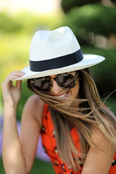 shirt tank top orange shirt sunglasses brown sunglasses beige sunglasses yellow top orange dress hat beige hat