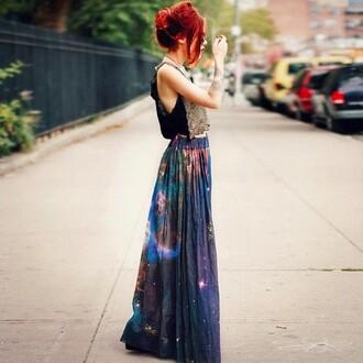 galaxy print grunge maxi skirt le happy