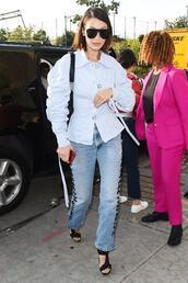 sunglasses,sandals,jeans,shirt,nyfw 2017,ny fashion week 2017,streetstyle,model off-duty