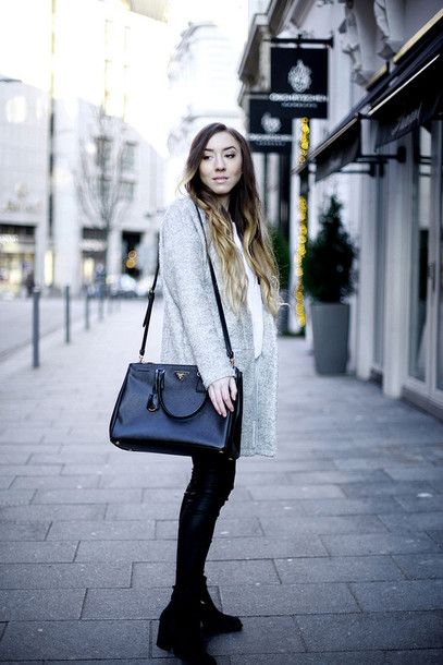 flirting with fashion blogger grey coat givenchy black bag