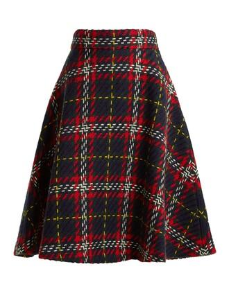 skirt wool knit tartan blue