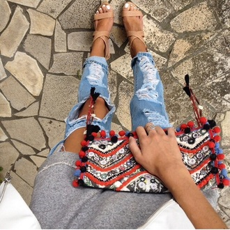 bag handbag boho jeans torn jean shorts denim torn torn clothes torn pants shoes high heels ripped jeans