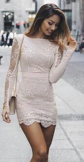 dress,white dress,lace dress,bodycon dress,light pink,feminine,pale,lace,nude dress,apricot,longsleeves dress