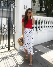 skirt,top,red top,crop tops,polka dots skirt,polka dots,white skirt,shoes