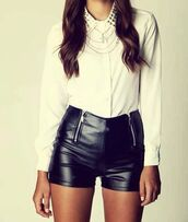 shorts,shorts high waisted leather black,zip,blouse