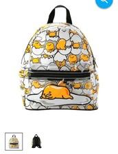 bag,yellow,gudetama,japan,backpack,printed backpack