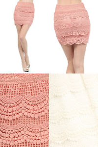 Sexy Bodycon High Waisted Banded Crochet Tiered Layer Skirts with Scalloped Hem | eBay