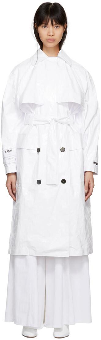 coat trench coat plastic white
