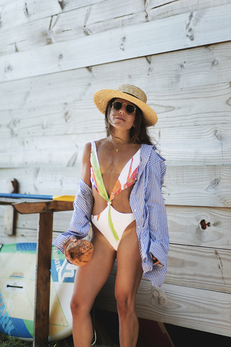 swimwear hat tumblr one piece swimsuit sexy swimsuit cut-out shirt blue shirt sun hat