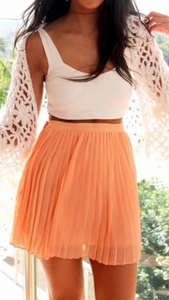 skirt cardigan summer crop tops white orange beach