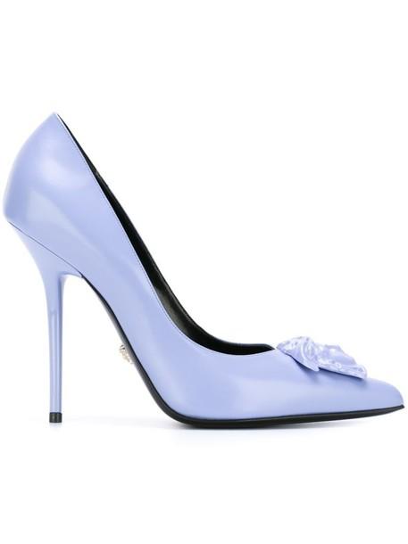VERSACE metal women pumps leather blue shoes