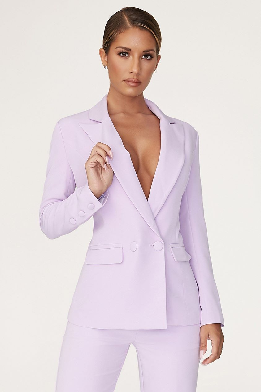 Charlize Double Breasted Long Blazer - Lilac