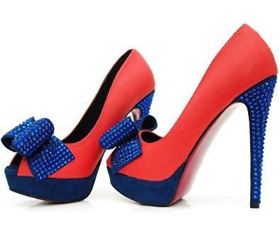 ROSELIGHT Peep Toes Rot Blau mit Schleife: Amazon.de: Schuhe & Handtaschen