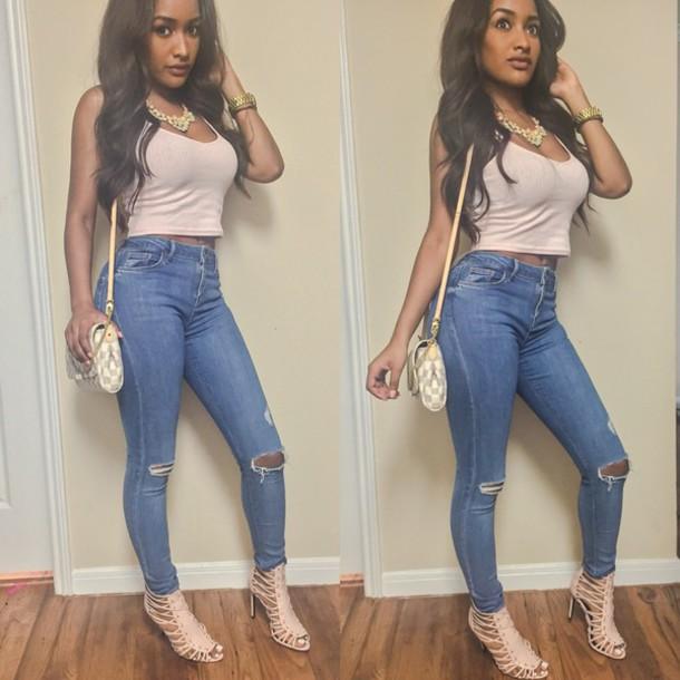 jeans high heels cute high heels strappy heels pink shirt pastel shirt ncklace high waisted denim shorts cute top fashion blogger prom beauty shirt