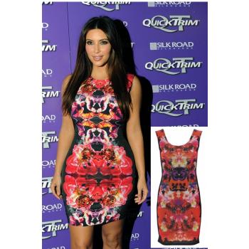 Sexy Kim Kardashian inspired floral dress