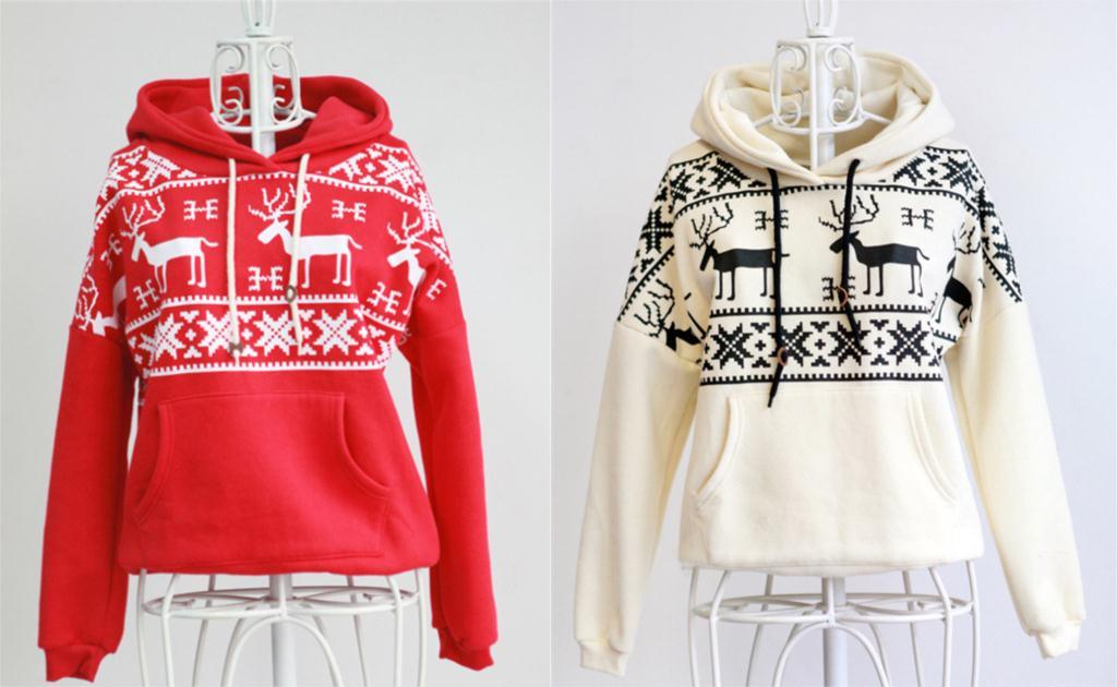 2015 Autumn winter New long sleeve Christmas vintage deerlets geometric  printed hoodies women cotton Reindeer Sweatshirts ... 565bbd782d18
