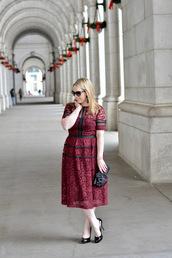 ablonde'smoment,blogger,dress,shoes,jewels,bag,sunglasses,make-up,lace dress,burgundy dress,clutch,midi dress,high heel pumps,pumps