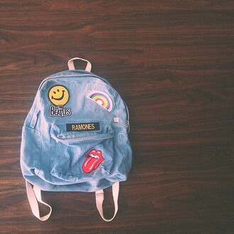 bag denim acacia brinley backpack the rolling stones ramones the beatles patch denim backpack smiley rainbow back to school