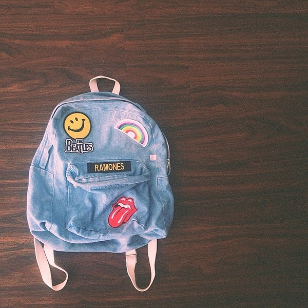 bag denim acacia brinley acacia brinley backpack the rolling stones ramones the beatles patch denim backpack smiley rainbow the rolling stones patch back to school