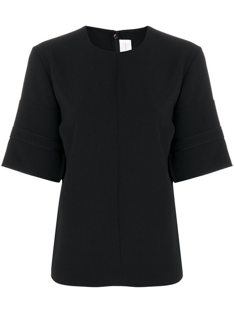 blouse short women black silk wool top