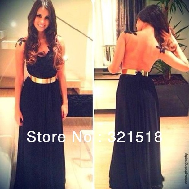 CE 253 New Arrival Backless Navy Blue Chiffon Long Evening Dress 2014 with Gold Belt Custom Made-in Evening Dresses from Apparel & Accessories on Aliexpress.com
