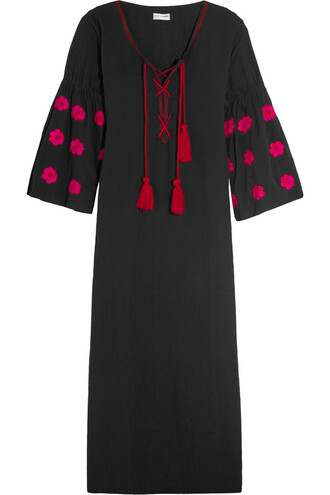dress maxi dress maxi embroidered cotton black
