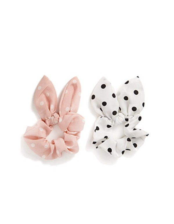 hair accessory polka dots girly bunny ears black and white accessories easter hair adornments