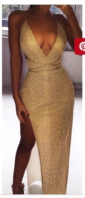 dress,gold,evening dress,gown,prom dress,prom,pinterest,sparkly gold dress,low v-neck,right leg split,cute,summer,spring