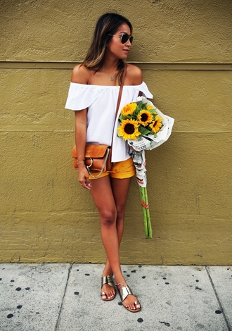 sincerely jules blogger top shorts bag shoes blouse ruffled top swag yellow shorts cold shoulder sandals silver sandals silver low heel sandals white top off the shoulder top chloe bag chloe brown bag summer outfits top blogger lifestyle sunglasses