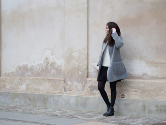 by funda blogger grey coat winter coat black skirt winter outfits coat sweater skirt shoes