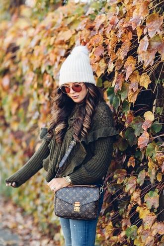 sweater tumblr green sweater ruffle ruffle sweater hat beanie white beanie pom pom beanie bag pochette metis