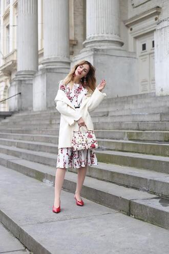 from brussels with love blogger dress coat bag shoes spring outfits spring dress floral bag floral dress slingbacks red heels
