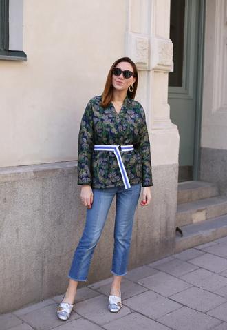 jeans jacket metallic shoes denim sunglasses earrings