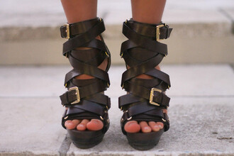 shoes leather straps leather heels buckles