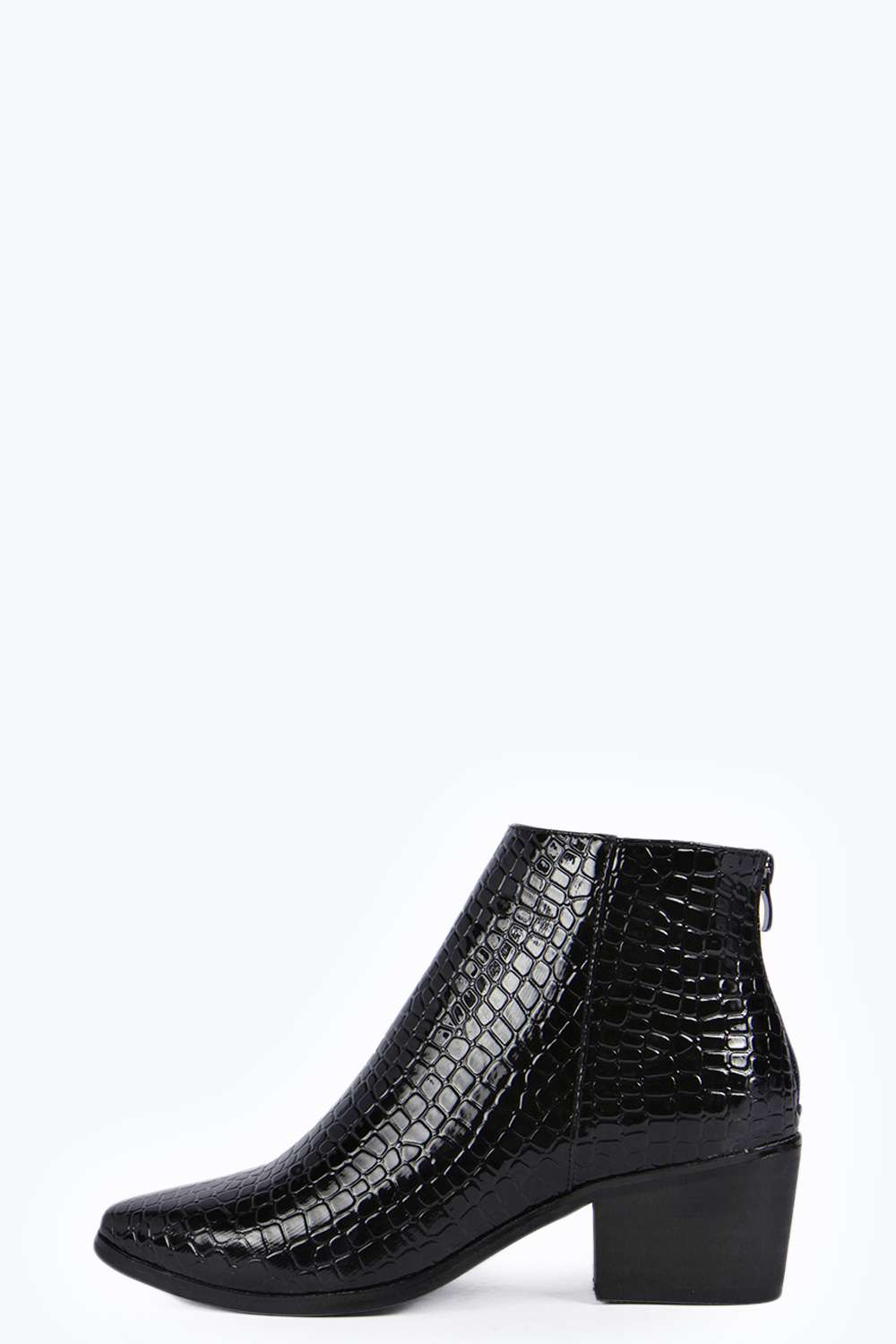 Kayla pointed croc ankle pistol boot