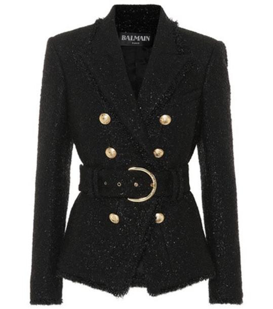Balmain Belted wool-blend jacket in black