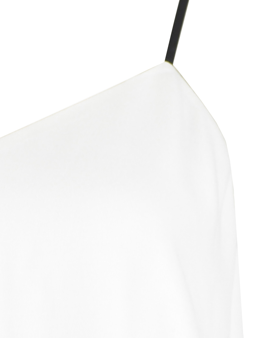 White camis blouse with real leather tape