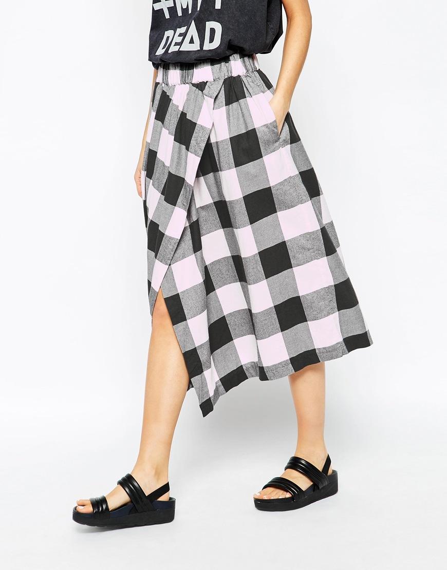 cheap monday checked wrap midi skirt at asos