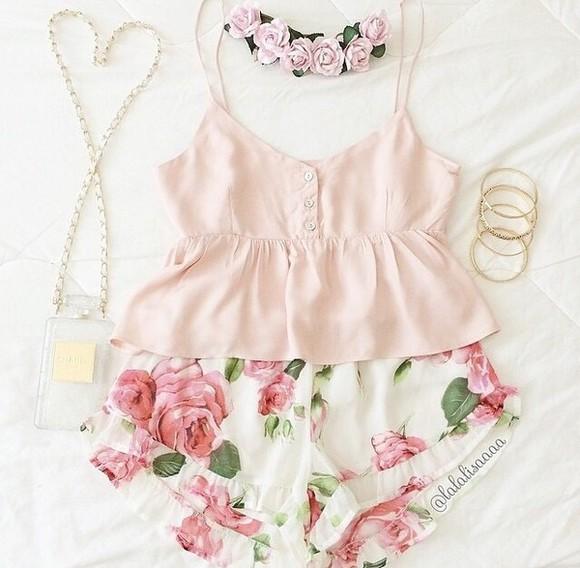 floral blouse pastel pink
