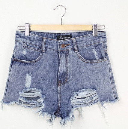 Blue jeans ripped shorts – glamzelle