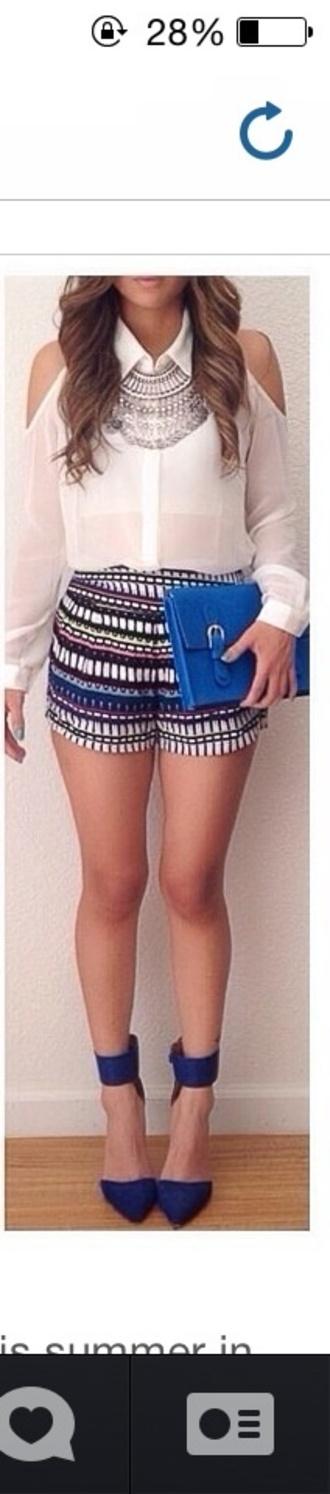 blouse long sleeved shirt shoulder free white skirt