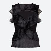 top,black top,pleats,peplum top,ruffle