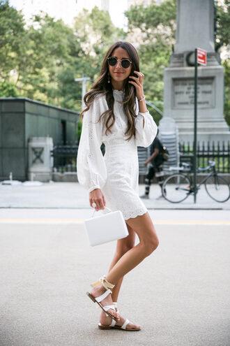 dress tumblr mini dress white dress eyelet detail eyelet dress sandals flat sandals all white everything bag white bag shoes sunglasses