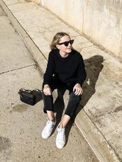 trini,blogger,sunglasses,sweater,pants,jewels,shoes,bag