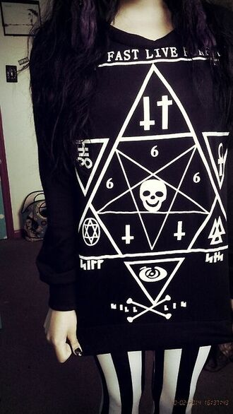 sweater crucifix black and white satanism hail satan skull pentagram fast live dead leggings
