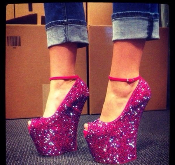 shoes high heels wedges platform high heels no heels magenta pink purple sparkle